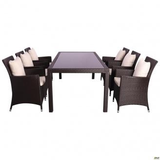 Комплект мебели AMF Samana-6 из ротанга Elit Brown MB1034 ткань A13815