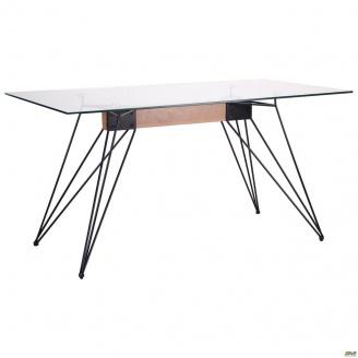 Стол обеденный АМФ Каттани 1500х800 мм стекло прозрачное черный