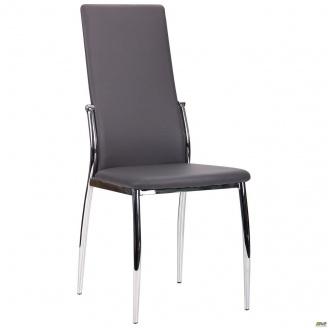 Обеденный стул АМФ Картер 990х440х570 мм каркас хром в кожзаме графит