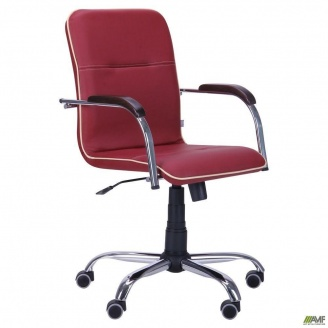 Офісне крісло AMF Самба-RC Хром 880-1110х640х680 мм горіх Неаполь N-08 з кантом бардовое