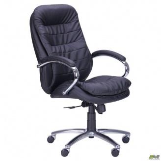 Офисное кресло AMF Валенсия HB 1140-1210х660х660 мм механизм ANYFIX черное хром для руководителя
