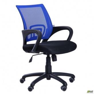 Офісне крісло AMF Веб 880-1010х550х600 мм з сітчастою спинкою сітка синя сидіння тканина чорне