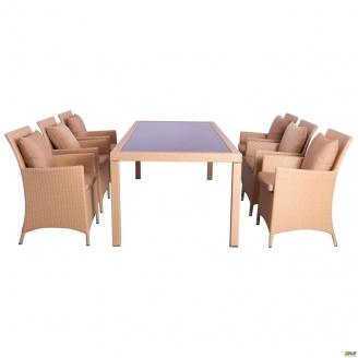 Комплект мебели AMF Samana-6 из ротанга Elit SC-8849 Sand AM3041 ткань A14203