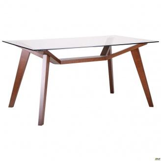 Стол обеденный АМФ Мертон орех светлый стекло прозрачное