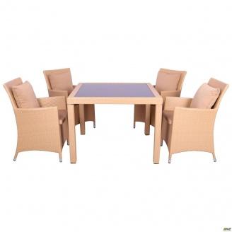 Комплект мебели AMF Samana-4 из ротанга Elit SC-8849-S2 Sand AM3041 ткань A14203