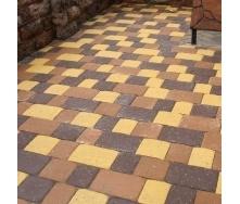 Тротуарная плитка Золотой Мандарин Старая площадь 160х40 мм желтый на белом цементе