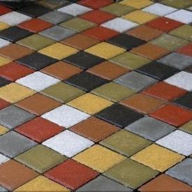 Тротуарна плитка Золотий Мандарин Квадрат малий 100х100х60 мм на сірому цементі гірчичний