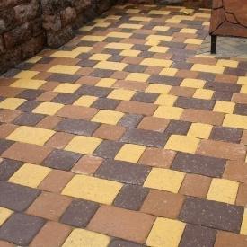 Тротуарна плитка Золотий Мандарин Стара площа 160х40 мм жовтий на білому цементі