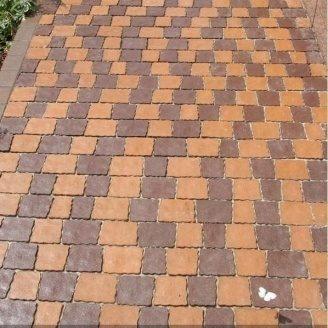 Тротуарна плитка Золотий Мандарин Креатив 60 мм на сірому цементі персиковий