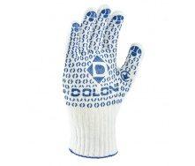 Рукавички робочі №547 білі в'язані з синьою крапкою ПВХ 7 клас
