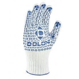Перчатки рабочие №547 белые вязаные с синей точкой ПВХ 7 класс