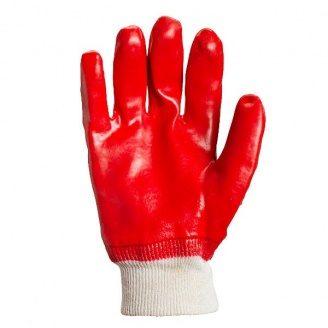 Рукавички робочі №4518 манжет в'язаний червоне покриття ПВХ повне