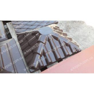 Крышка на забор LAND BRICK Черепица коричневая с площадкой под фонарь 450х450 мм
