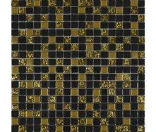 Мозаїка Grand Kerama мікс чорний-золото рельєфне-золото 300х300 мм (913)