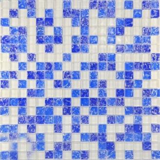 Мозаїка Grand Kerama мікс білий-синій колотий-блакитний колотий 300х300 мм (450)