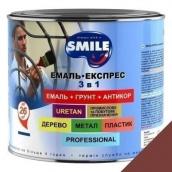 Эмаль Экспресс антикоррозионная 3 в 1 Smile 2,2 кг для крыш коричневый RAL 8012