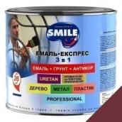Эмаль Экспресс антикоррозионная 3 в 1 Smile 2,2 кг для крыш вишневый RAL 3005