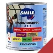 Эмаль Экспресс антикоррозионная 3 в 1 Smile 0,8 кг гладкое покрытие красный RAL 3002