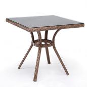 Плетеный стол Барселона искусственный ротанг 80х80х75 см коричневый