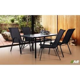 Набір меблів AMF для кафе стіл Cancun + стільці Puerto Black 5 шт