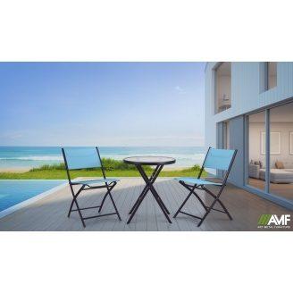 Комплект меблів АМФ стіл MAYA + стільці LINDA металеві 3 шт