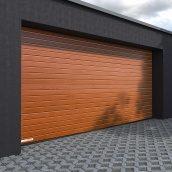 Гаражные секционные ворота KRUZIK Base 2500х2200 мм золотой дуб