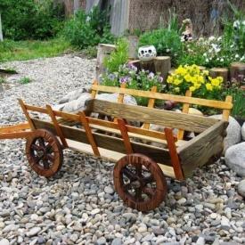 Декоративная телега для сада из дерева под заказ
