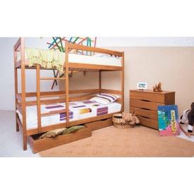 Кровать детская двухъярусная Олимп Амели деревянная 80х190 см с выдвижными ящиками