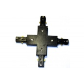 Коннектор для рейок трекових світильників Ledmax 1-PHS ADAPTER хрестової чорний