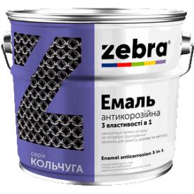 Эмаль антикор 3 в 1 0,75 л Зебра КОЛЬЧУГА темно-коричневая 88