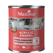 Эмаль акриловая для дерева и металла Acrylic Wood & Metal Enamel ТМ Maximа белый глянцевый 0,75 л