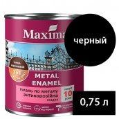 Эмаль антикоррозийная по металлу 3 в 1 Rust stop metal enamel гладкая MAXIMA черный 0,75 л