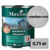 Молотковая краска антикоррозийная по металлу 3 в 1 Rust stop metal enamel MAXIMA серебро 0,75 кг