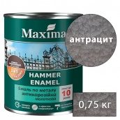 Молотковая краска антикоррозийная по металлу 3 в 1 Rust stop metal enamel MAXIMA антрацит 0,75 кг