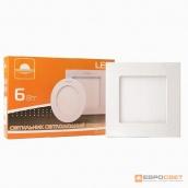 Світильник точковий врізний ЕВРОСВЕТ 6 Вт квадрат LED-S-120-6 6400 К