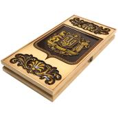 Різьблені нарди Український герб №3 ясен 60х60х3,5 см
