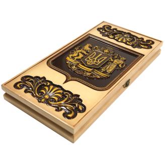 Резные нарды Украинский герб №3 ясень 60х60х3,5 см