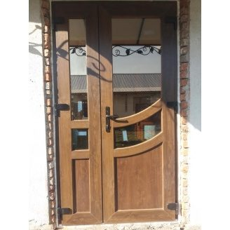 Вхідні двері двостулкові шестикамерний профіль 1160x2280 мм