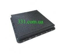 Люк пластмассовый квадратный 680х680х80  мм с замком черный (02977) (IMPA531)
