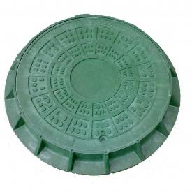 Люк легкий каналізаційний полімерпіщаний ЛМ (А15)-2-48 з замком зелений (14.20.1)