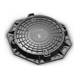 Люк чавунний каналізаційний важкий В-Л 25 т з шарніром (2.04.31)