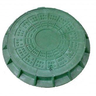 Люк легкий канализационный полимерпесчаный ЛМ (А15) -2-48 с замком зеленый (14.20.1)