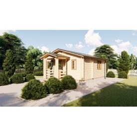 Будівництво дачного будинку з дерев'яного брусу 6х6 м з навісом