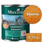 Молотковая краска антикоррозийная по металлу 3 в 1 Rust stop metal enamel MAXIMA бронзовый 0,75 кг