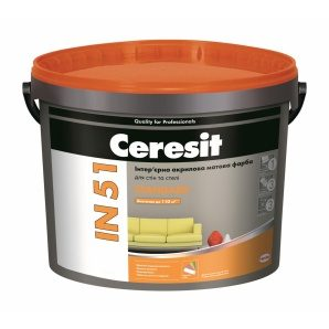 Интерьерная акриловая краска Ceresit IN 51 STANDARD База А матовая 5 л белый