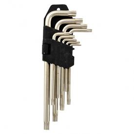 Набор Г-образных шестигранных ключей звездочка короткие 1,5-10 мм хром