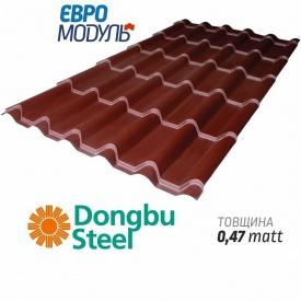 Металлочерепица Евромодуль Ретро matt Dongbu Steel Корея 0,47 мм