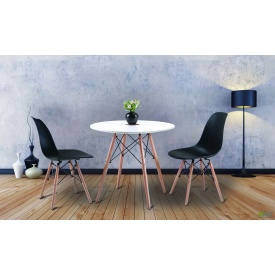 Обеденный комплект Лофт №80-2 на две персоны круглый стол и пластиковые стульчики
