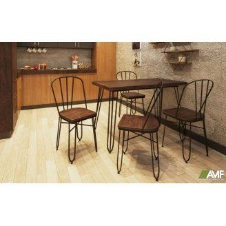 Комплект садовой мебели АМФ стол Smith 80+стулья Clapton черный набор 5 шт
