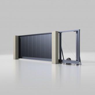 Откатные ворота ALUTECH Prestige 4000х2000 мм привод Roteo сэндвич-панель S-гофр антрацит (ADS703)